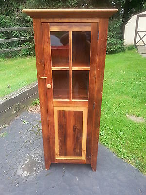 Antique Amish Custom Built Unfinished Reclaimed Barn Wood Jelly Cabinet W/glass