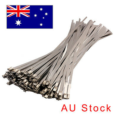 100x Stainless Steel Header Exhaust Wrap Locking Cable Zip Ties Straps 4.6x300mm