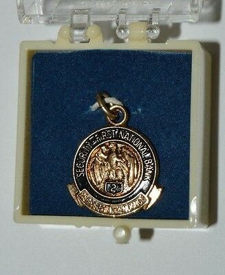Vintage Security First National Bank 2 Year Award Gold Filled Necklace Charm NM