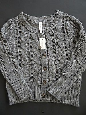 Aeropostale Girl's Youth Gray L/S Cable Knit Button-Front Sweater Sz M SALE