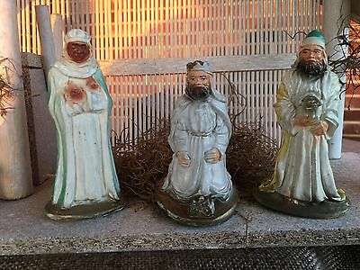 "Antique Vintage 1940's Hand Decorated Chalkware 3 Nativity Kings Figures,4"" Tall"
