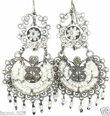Taxco Mexican 925 Sterling Silver Beaded Bead Pearl Filigree Earrings Mexico