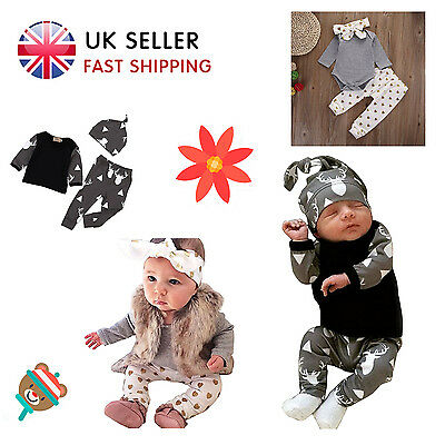 3PCS Newborn Baby Boys Girls Kid Top + Pant + Hat / Headband Outfit Set Clothing
