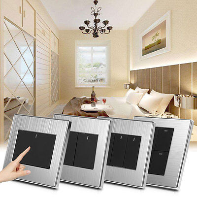 1/2/3/4 Gang 1/2 Way Home Wall Light Switch Push Buttons Modern Style 250V 10A