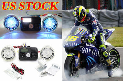 Handlebar Audio System Stereo Amplifier Speaker FM Radio Motorcycle Scooter USA