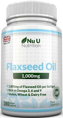 Flaxseed Oil 1000mg Cold Pressed180 Softgel Capsules Rich in Omega 3, 6 & 9
