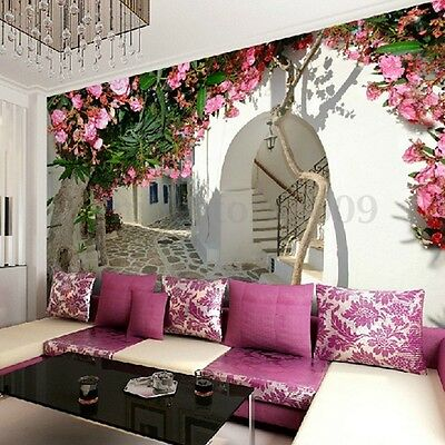 3D European Views Wall Paper Stickers DIY Mural Living Room Background Decor