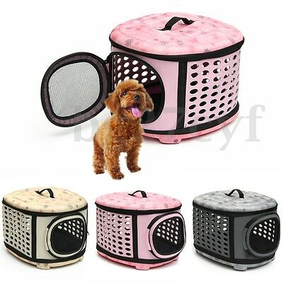 Collapsible Small Pet Puppy Kitten Carrier Portable Cage Crate Transporter