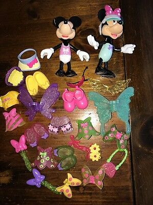 Lot Of 2 Minnie Mouse Snap On Style Boutique Figures & Clothes - Accessories