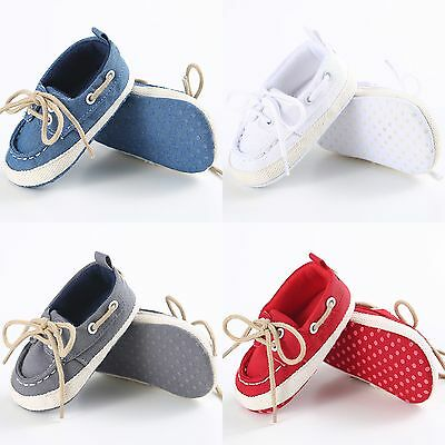 Newborn Toddler Baby Boys Girls Lace-up Soft Sole Crib Shoes Prewalker Sneakers