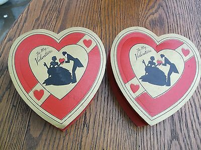 Pair heart shaped vintage 1930's Valentine candy chocolate gift boxes