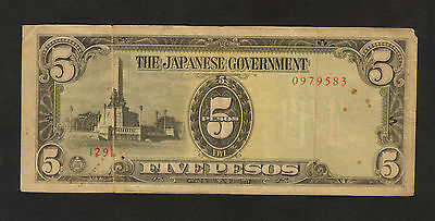 RJKstamps JAPAN 1940's 5 PESOS JAPANESE OCCUPATION WARTIME CURRENCY CIRCULATED