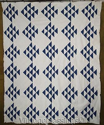 "ANTIQUE Deep Indigo Blue and White Flying Geese QUILT TOP 81"" x 67"""