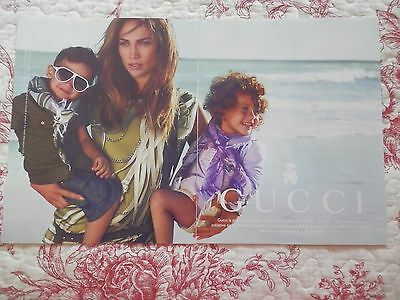2 Page Print Ad, Gucci, Jennifer Lopez, Twins, Unicef  Schools for Africa