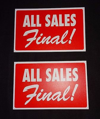 """2 All Sales Final Red Plastic Message Display Sign 7"""" x 11"""""""