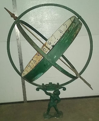 Antique  Art Deco 1930's French Armillary Sphere Garden Sundial ATLAS figural