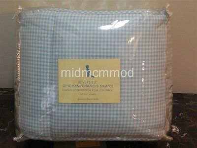 NEW Pottery Barn Kids Gingham/Chamois Crib Bumper ~NWT ~ Baby Blue ~Reversible