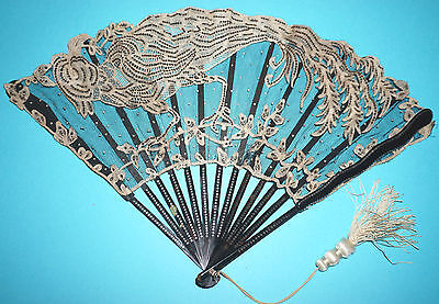 Rare Antique French Art Nouveau Lace Paillettes Emabroidered Peacock Bird Fan