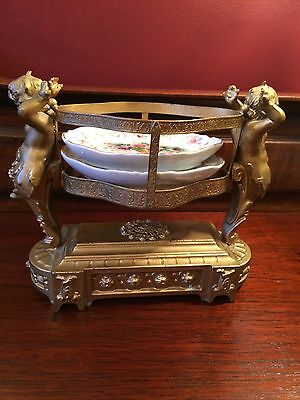 Antique Gilded Cherubs Centerpiece With Porcelain Trays