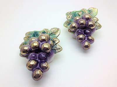 Beautiful VTG Set Of 2 Bradley Exclusive Grape Wall Vase/pockets W/ Original Tag