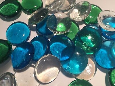 Glass Pebble Beads - Aquarium Floral ~ BLUE ~ GREEN ~ BROWN ~ CLEAR ~ FISH SHAPE