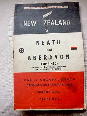 New Zealand v Neath and Aberavon - 1954 - Rugby Programme -