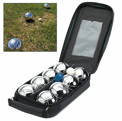 New 8 Piece Steel French Boules Set Petanque Balls Garden Game Free Carry Case