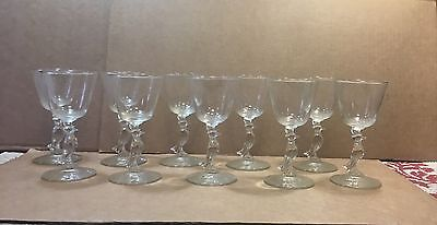 10 PC VTG OLD CROW WHISKY Figural Glass  Stemware Cocktail ADVERTISING