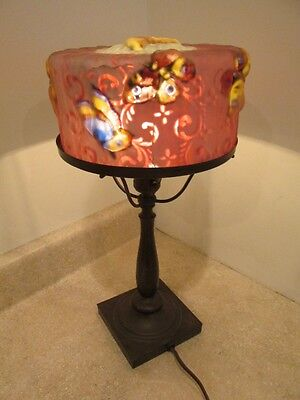 S Antique Pairpoint Boudoir Lamp Puffy Papillion Butterfly Reverse Painted Shade