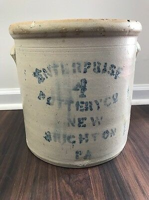 Antique Stoneware Crock Enterprise 4 Gallon New Brighton PA Pottery