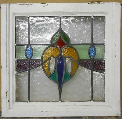 "OLD ENGLISH LEADED STAINED GLASS WINDOW Stunning Heart Swag 20"" x 19"""
