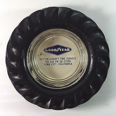 Vintage 1950's Goodyear Real Tire Advertising Ashtray Sutter County Tire Svc