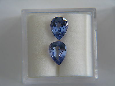 2.33ctw Pear Shape TANZANITE matched pair - Nice!