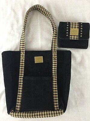 Longaberger Homestead Black Corduroy Handbag Purse With Matching Wallet