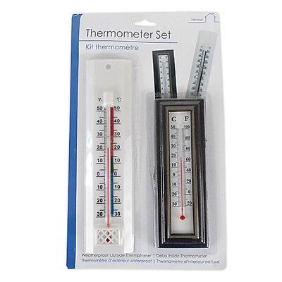 2 Piece Home Garden Thermometer Set Displays Both Fahrenheit and Celsius