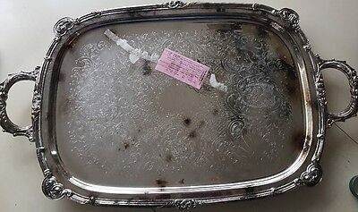 Vtg English Silver Mfg.,Corp. Serving Tray Made USA & Towle Silver Plated Plate
