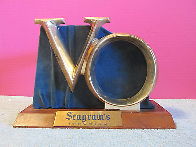 VO Seagrams bar back sign bottle holder display vintage heavy wood metal liquor
