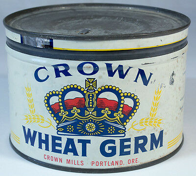 Vintage Crown Mills Wheat Germ Tin - Portland, ORE