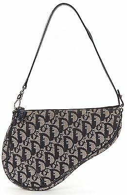 CHRISTIAN DIOR Authentic Black Gray Monogram Canvas Shoulder Bag