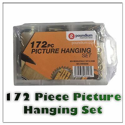 172 pc PICTURE HANGING KIT UP TO 50LBS HANGER LARGE PACK  Wire/Nail/Hook/Canvas