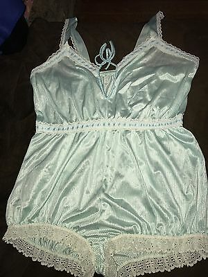 Vintage TEXSHEEN Lingerie - Light green and white striped lacy satiny romper