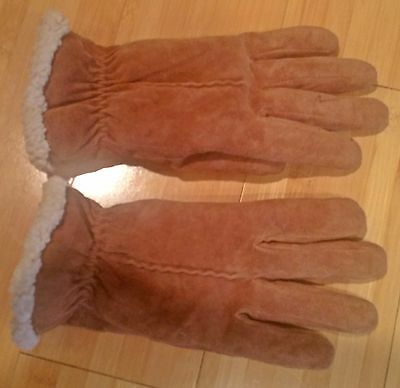 Ladies Suede Leather gloves with fleece lining Medium