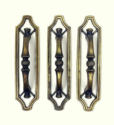 """3 Vintage 1970s Antique Brass Finish Drawer Pull Handles Arched Handle 3"""" Center"""