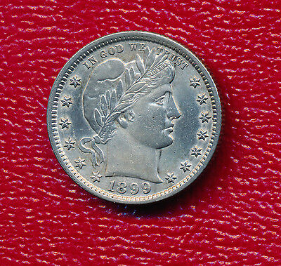 1899 Barber Silver Quarter **choice About Uncirculated** Free Shipping!