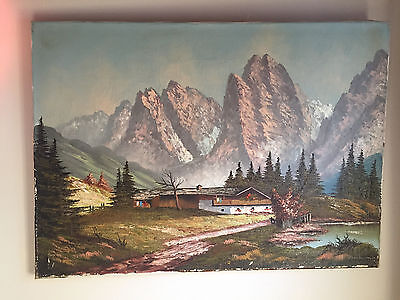 Antique Oil on Canvas Landscape of Chateau In Mountains Painting  ~ signed