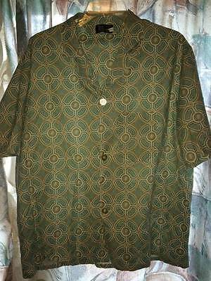 Sears vintage 1970s notched collar mosaic casual camp shirt man L Large 42-44
