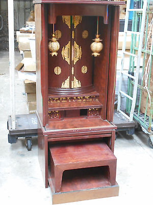 Vintage Japanese Butsudan Buddhist Altar Shrine Cabinet with Stool 1950s #22