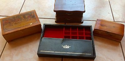 Lot Of 4 Vintage Jewelry And Trinket Boxes, Wooden & Leather