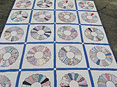 1930's  Antique DRESDEN PLATE QUILT FeedsacK FABRIC all HAND STITCHED & PIECED