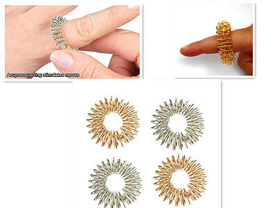 4*Chinese Medicine Acupressure Massage Rings (Silver+Golden) New Finger Exercise
